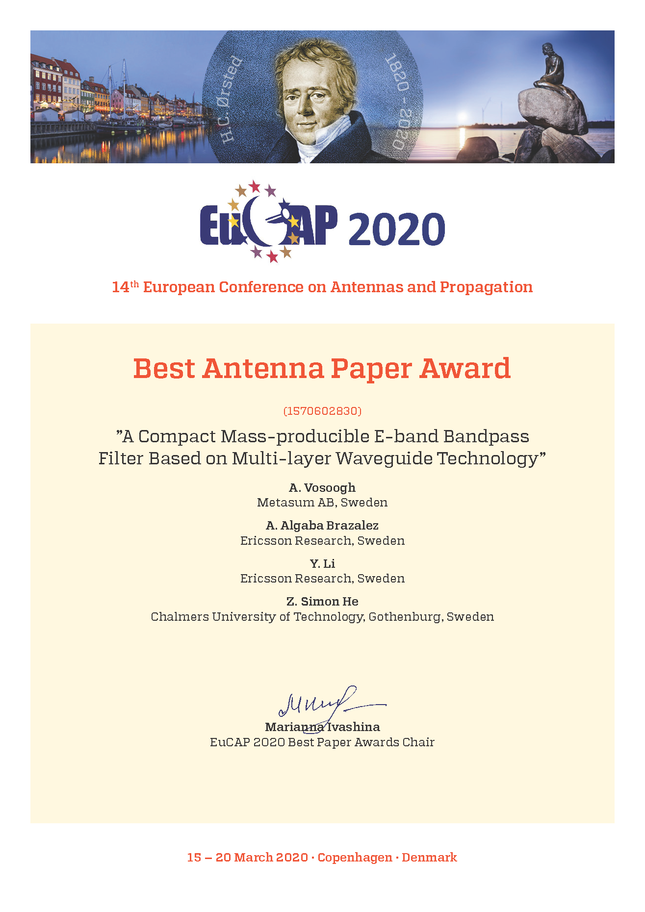 Best paper award Antennas