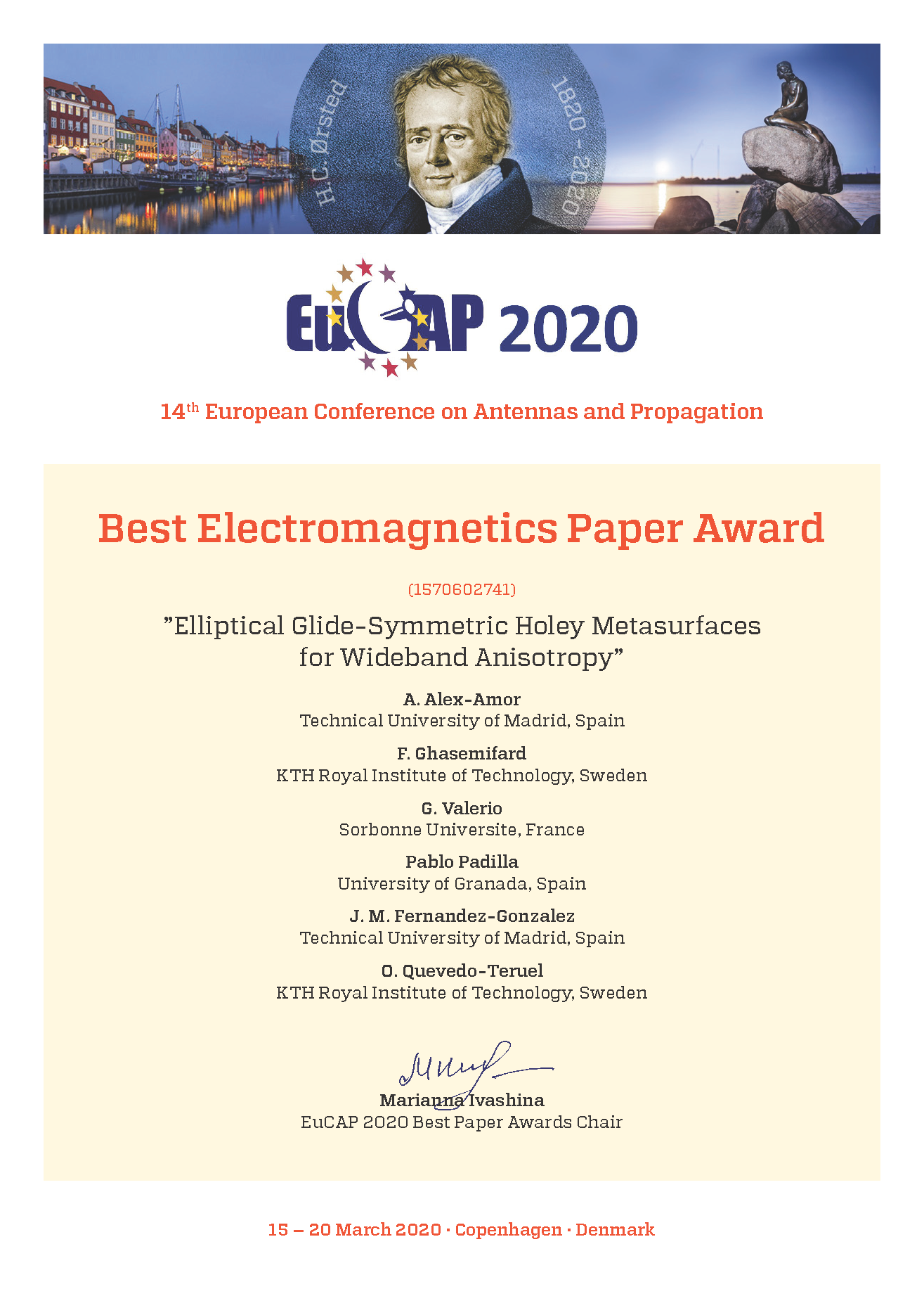 Best paper award Electromagnetics
